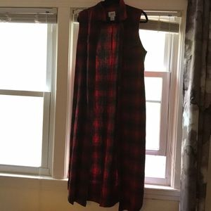 Plaid Sleeveless Collared Duster